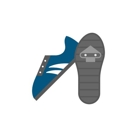 coupling: Cycling shoe icon in flat color style. Sport road race time trial foot pedal clip less cleat Illustration