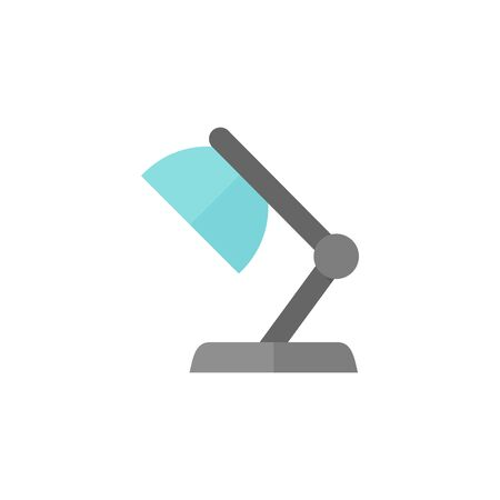 study table: Table lamp icon in flat color style. Electric light adjustable spotlight study science Illustration