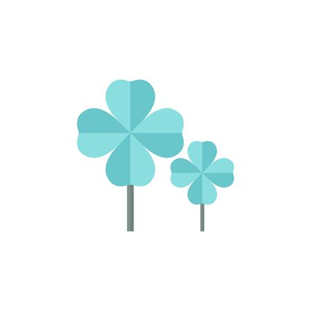 four objects: Clover icon in flat color style. Nature plant green saint Patrick symbol