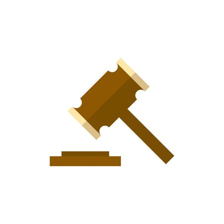 case: Wood hammer icon in flat color style. Law justice judge auction bidder