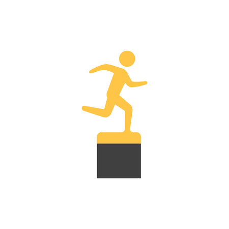 Athletic trophy icon in flat color style. Running triathlon decathlon competition sport