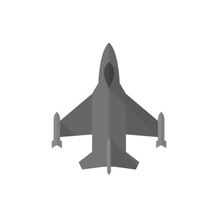 Fighter jet icon in flat color style. Aircraft military attack avionics Illustration