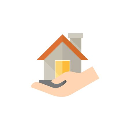 palm: Property care icon in flat color style. House human hand palm insurance protection