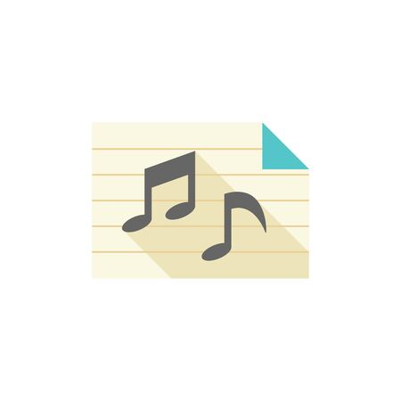 crotchets: Music notes icon in flat color style. Musical sheets sign crotchets quaver