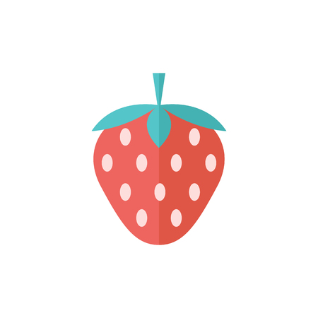Strawberry chocolate icon in flat color style. Fruit food dessert Illustration