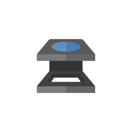 Printing magnifier icon in flat color style.