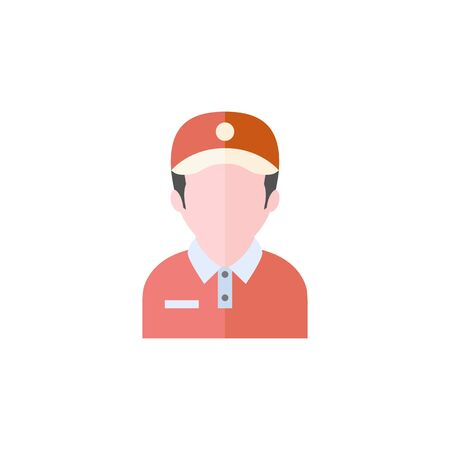 Delivery man icon in flat color style. Courier logistic mail packet package parcel sending receive