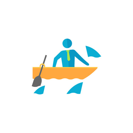 Businessman challenge icon in flat color style. Business metaphor man boat sea water shark fear