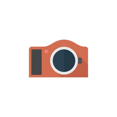 mirror: Camera icon in flat color style. Photography picture electronic imaging capture mirror less digital