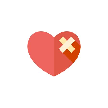 Broken heart icon in flat color style. Love couple Valentine