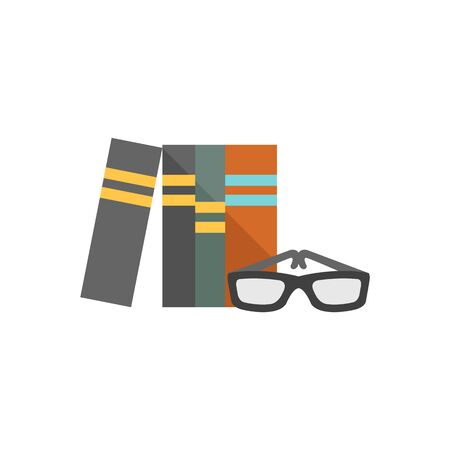 wiki: Books and glasses icon in flat color style. Education student college research library