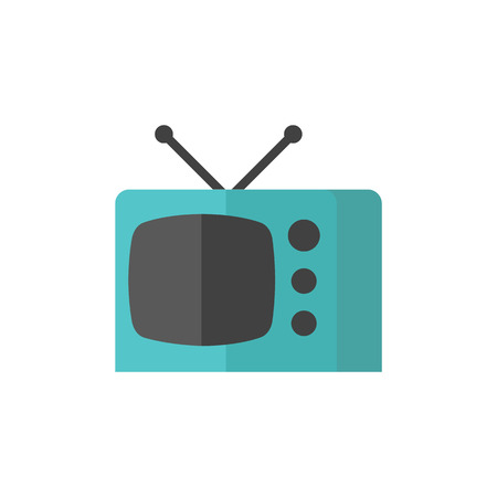 flat screen tv: Television icon in flat color style. Electronic communication news update movie view watching