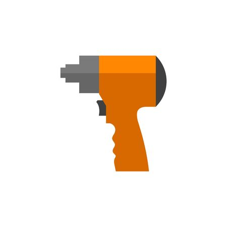 Electric screwdriver icon in flat color style. Machine household work tool Illustration