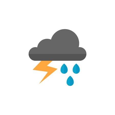 天気は曇りフラット カラー スタイルで嵐アイコンです。自然予報雷