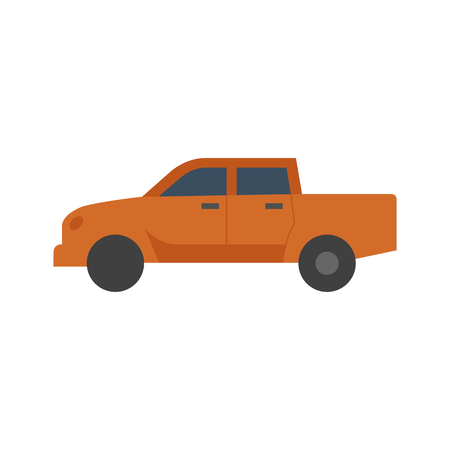 Car icon in flat color style. Truck, double cabin, 4x4, 4 wheel driver