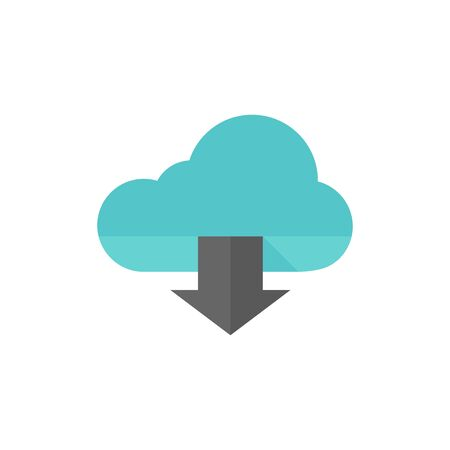 Cloud download icon in flat color style.