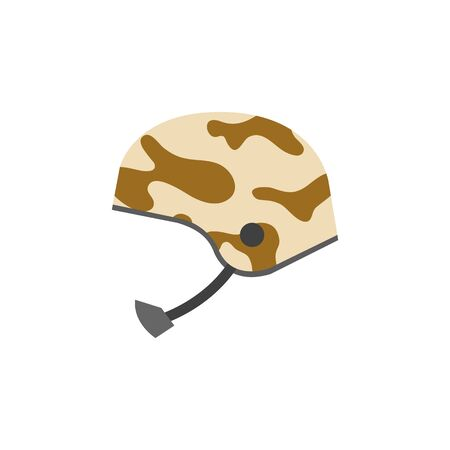 Military helmet icon in flat color style. Object army head protection safety bullet proof