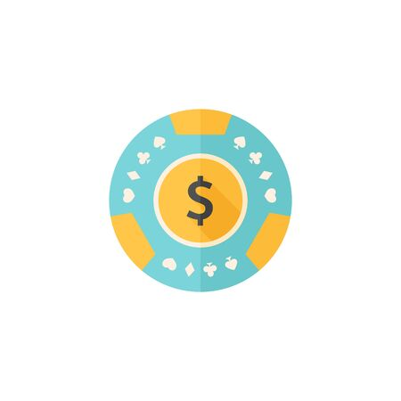 bets: Gambling coin icon in flat color style. Leisure activity bet chance roulette jackpot