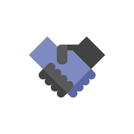 business meeting: Handshake icon in flat color style. Business people agreement