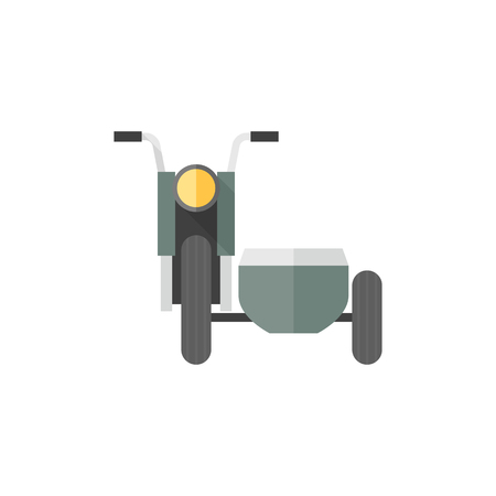 Military motorcycle icons in flat color style. Side car army transport