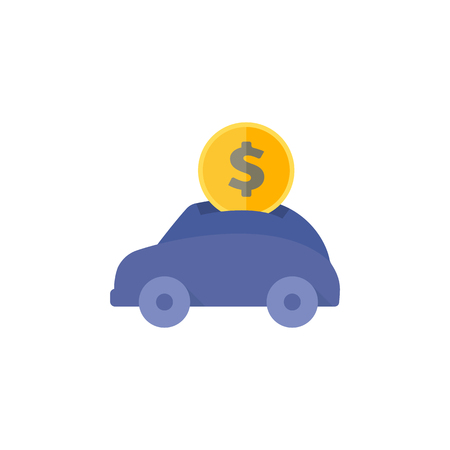 Car piggy bank icon in flat color style. Saving kids banking car automotive automobile