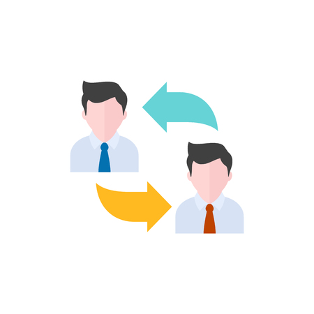 Employee rotation icon in flat color style. Position human resources