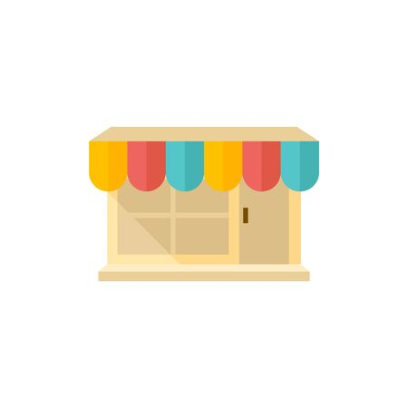 button art: Shop icon in flat color style. Buying ecommerce market retail store