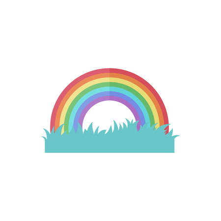 Rainbow icon in flat color style. Colors arch curve weather