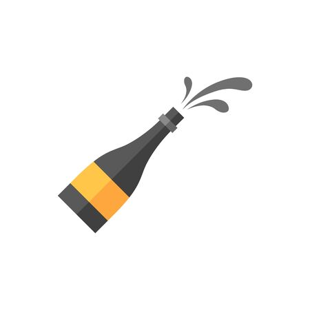 racing: Champagne spray icon in flat color style. Race podium celebration winner champion success