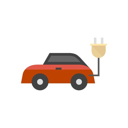 Car icon in flat color style. Mini small urban city vehicle electric hybrid