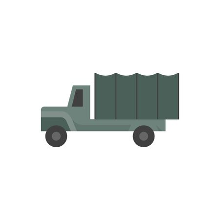soldiers: Military truck icons in flat color style. Vintage war logistic transportation army Illustration