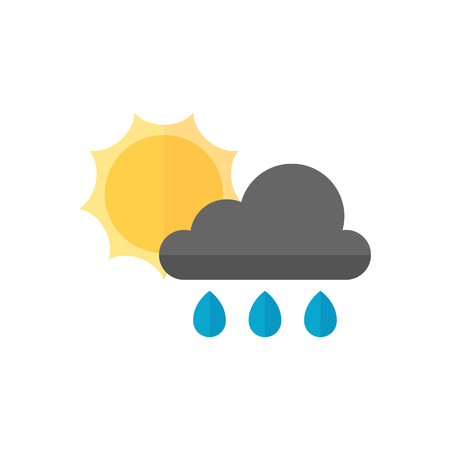overcast: Rainy icon in flat color style. Season forecast monsoon wet meteorology