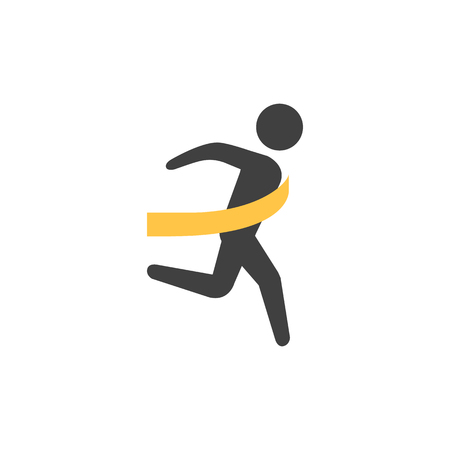 Finish line icon in flat color style. Sport runner marathon competition winning champion Olympic Olympian