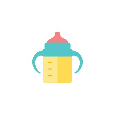 Milk bottle icon in flat color style. Baby toddler pacifier drinking comforter