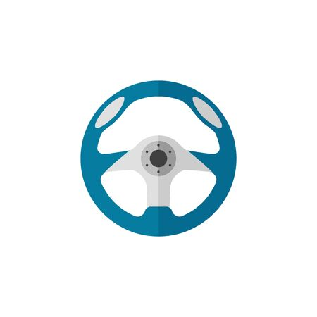 Steering wheel icon in flat color style. Car automobile auto transportation speed sport accessories Illustration