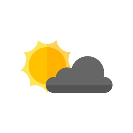 clouds: Weather forecast partly cloudy icon in flat color style. Meteorology overcast Illustration