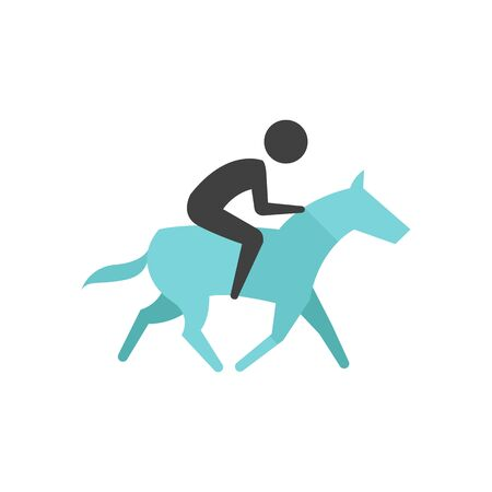 Horse riding icon in flat color style. Sport championship race training leisure animal ride