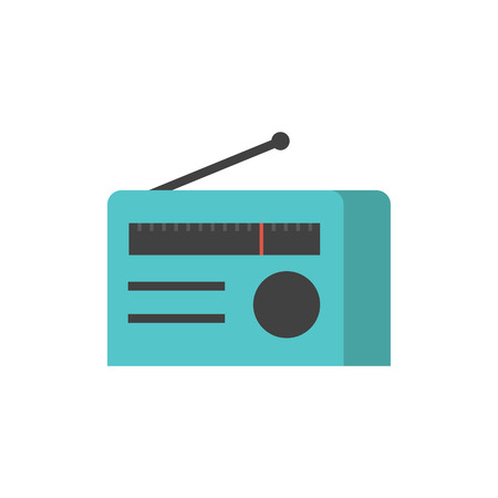 white wave: Radio icon in flat color style. Communication broadcast media music news station stereo