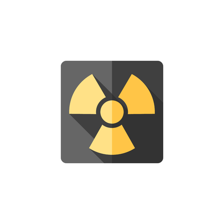 quarantine: Radioactive symbol icon in flat color style. Science research energy nuclear waste