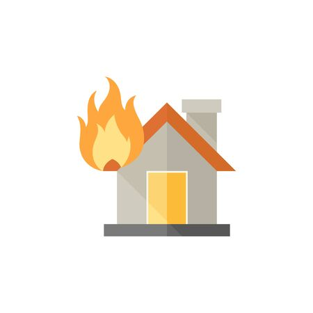 sabotage: House fire icon in flat color style. Nature disaster sabotage accident insurance risk claim