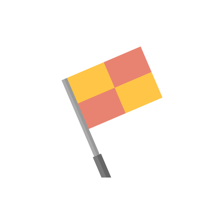 outfield: Lineman flag icon in flat color style. Football soccer match game judge assistant referee