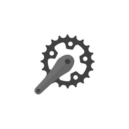 Bicycle crank set icon in flat color style. Bicycle cycling road race sport rotor pedal