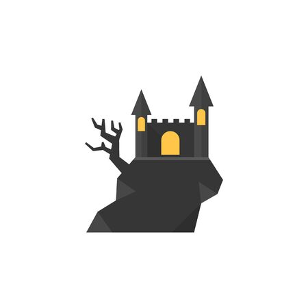 Dark castle icon in flat color style. Halloween symbol path moon building spooky fear