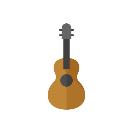 Guitar icon in flat color style. Music instrument string sound