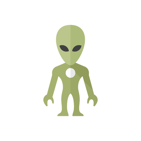 invader: Alien icon in flat color style. Extraterrestrial, outer space, invader, humanoid