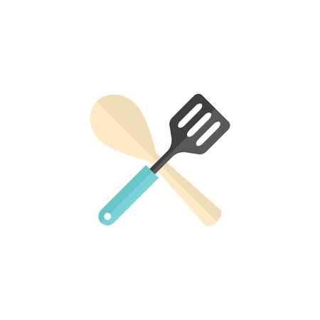 Spatula icon in flat color style. Cooking utensil kitchen household Illustration