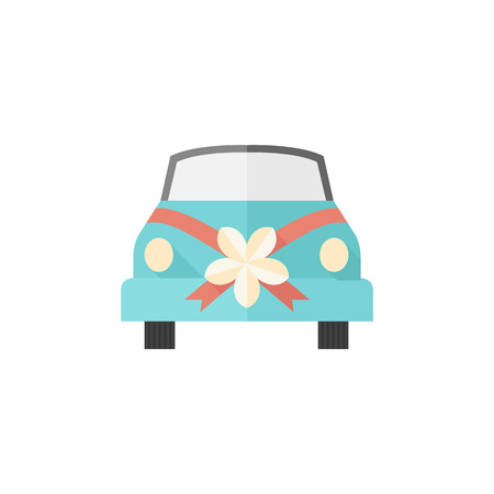wedding couple: Wedding car icons in flat color style. Illustration