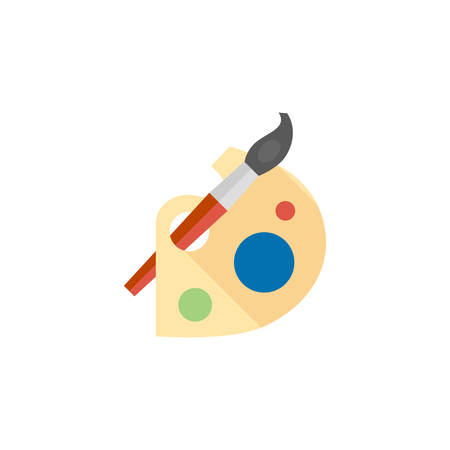 artwork: Artist painting palette icon in flat color style.