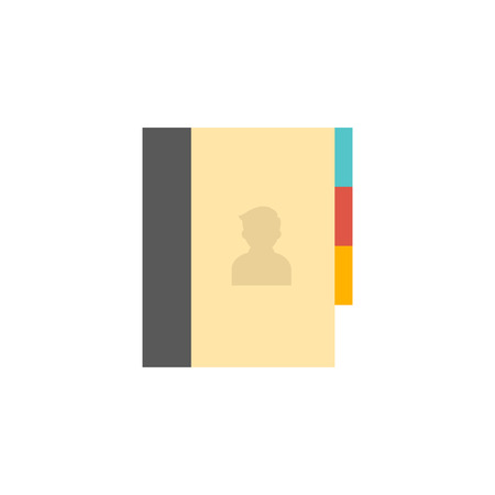 simple: Address book icon in flat color style. Contac phone list customer friend family