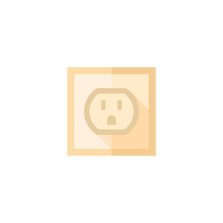 electric grid: Electrical outlet icon in flat color style. Electronic connect plug household Illustration